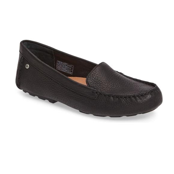 UGG Shoes   Milana Black Leather Flats